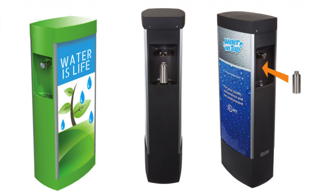 Water Refill Station with Media Panels